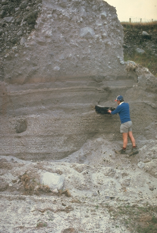 The Kaharoa eruption about 700 years ago was the first Holocene eruption of the Tarawera lava dome complex in the Okataina Volcanic Centre. It produced an extensive rhyolitic tephra deposit that extended to the E coast of North Island. Geologist Pat Brown examines a charcoalized log within a pyroclastic flow deposit from this eruption. The upper part of the section consists of blocky debris from collapse of a rhyolitic lava dome at the end of the eruption. Photo by Jim Cole (University of Canterbury).
