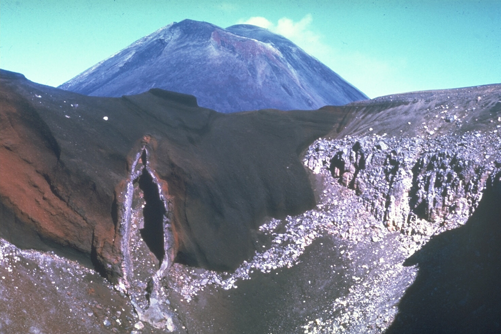 The SE wall of Red Crater is cut by a vertical volcanic dike that fed eruptions along a NE-SW-trending fissure. Magma along the outer part of the dike cooled against the red scoria walls, while magma at the center of the dike partially drained away, leaving this cavity. Ngauruhoe is visible in the background. These are two of more than a dozen cones and craters forming the Tongariro volcanic complex. Photo by Jim Cole (University of Canterbury).