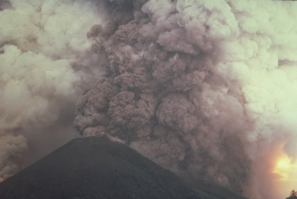 A vigorous plinian eruption column, seen from the ENE side during the afternoon of May 9, rises above an arcuate fissure cutting both sides of Banda Api volcano.  The plume reached a maximum height of 16.5 km, depositing blocks, pumice, and scoria primarily to the west. Photo by Shoji and Taeko Ozawa, 1988; courtesy of Tom Casadevall (U.S. Geological Survey).