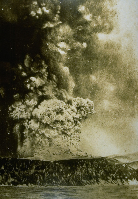 An eruption column rises above Perboewatan crater on Krakatau Island on 27 May 1883. Three months later one of history's most noted eruptions destroyed much of the island, forming a submarine caldera. Detonations were heard as far away as Australia, pyroclastic flows swept across the sea to the coast of Sumatra, and powerful tsunamis devastated the shores of Sumatra and Java. Photo courtesy Volcanological Survey of Indonesia, 1883.