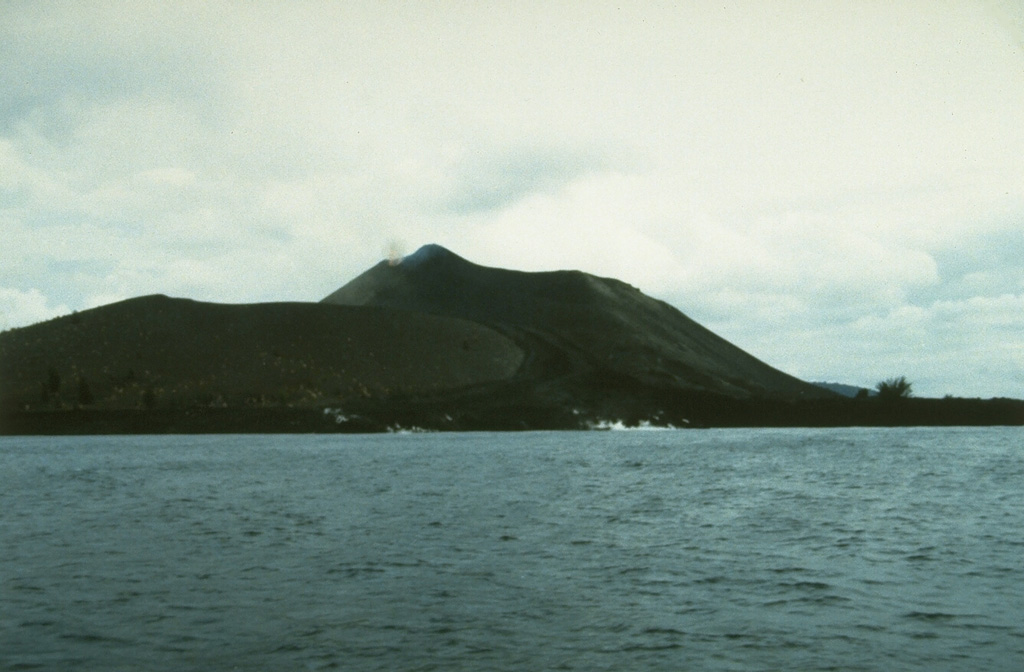 Anak Krakatau is seen here in 1993 from the east with a lava flow reaching the sea in the foreground. This eruption began with explosions and lava emission on 7 November 1992. Lava flowed to the SE and NE, eventually reaching the NW coast. Another lava flow traveled to the SSE beginning in February 1993 and reached the southern coast. A third flow descended to the north in April and May. Explosive activity was continuing in June, when a tourist was killed and five others injured. Eruptions continued until October 1993. Photo by Ruska Hadian, 1993 (Volcanological Survey of Indonesia).