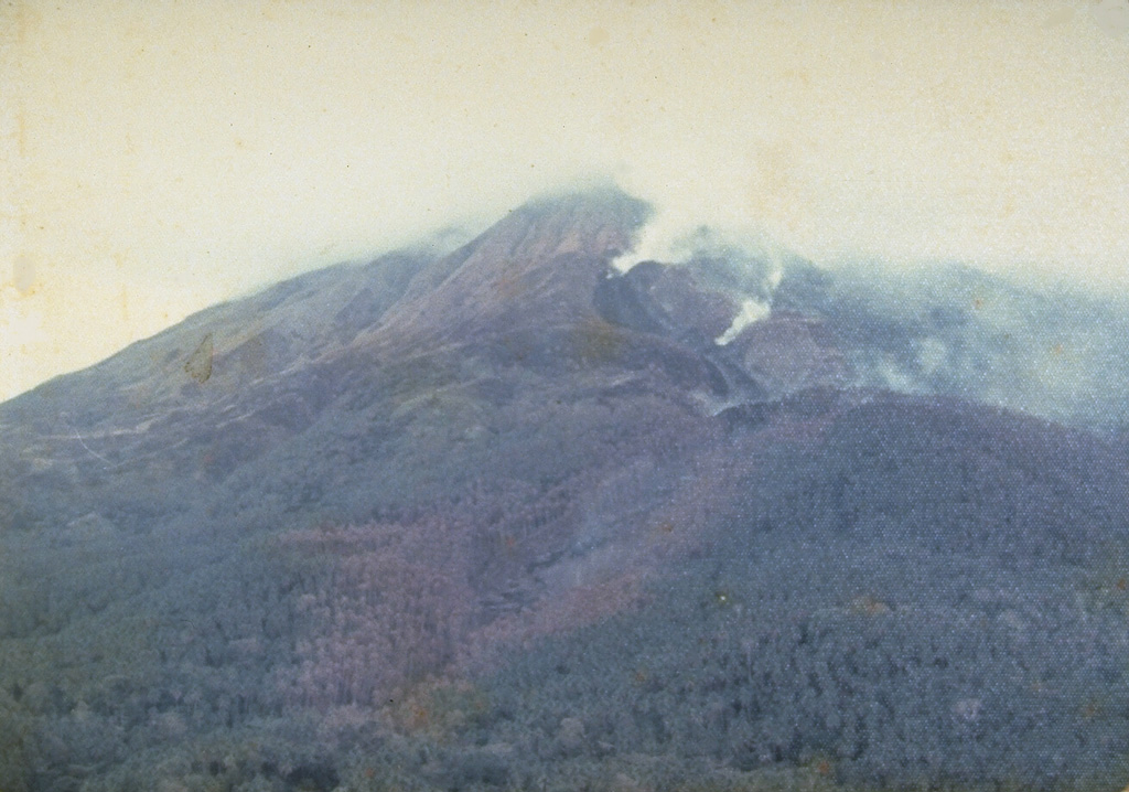 Steam rises from a lava flow descending the north flank in 1976, viewed from Ulu village.  A period of almost continuous eruptive activity that began in January 1972 ended in April 1976.  Intermittent explosive eruptions were accompanied by lava dome growth and lava flows and lahars. Photo by J. Matahelumual, 1976 (Volcanological Survey of Indonesia).