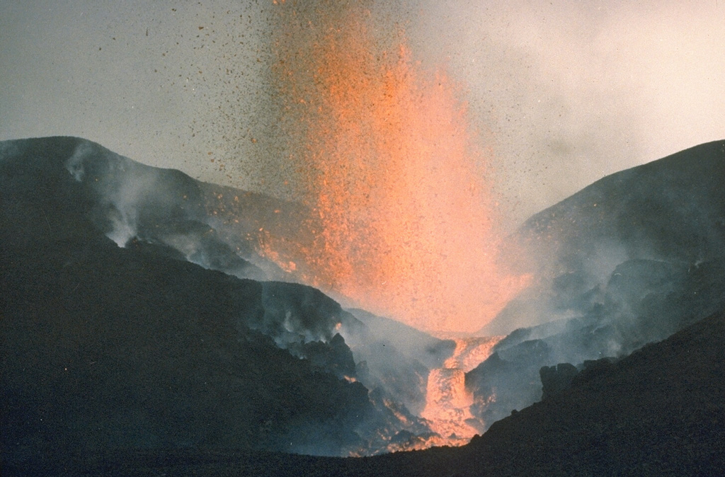 An eruption from a SSW-flank fissure 16 July to 20 August 1986, produced the Kitazungurwa scoria cone and a lava flow that traveled 19 km down the SW flank. The lava flow partially covered the SW-flank lavas from the 1976-77 Murara eruption. On 18 August the eruption changed from continuous lava fountaining to Strombolian activity. Crops were destroyed by hot ejecta and 150 cattle died from ingestion of ash-covered vegetation. Photo by D. Meurhaeghe, 1986.