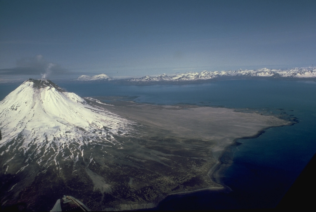 A small plume rises from the summit of glaciated Augustine in this July 1988 view from the east. The gray, unvegetated areas on the north flank are pyroclastic flow deposits from the 1986 and earlier historical eruptions. The pyroclastic flows reached the sea to the east and west. The Chigmit Mountains rise across Kamishak Bay in the distance. Photo by Bill Rose, 1988 (Michigan Technological University).