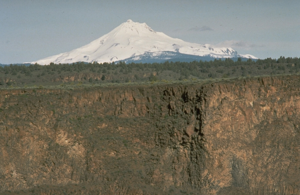 Mount Jefferson, a prominent landmark of the central Oregon Cascades, rises above deep canyons cut into thick lava flows of the Columbia River Basalt formation NE of the volcano.  Mount Jefferson was named after the current president when it was observed by Lewis and Clark from the mouth of the Willamette River in 1804. Photo by Richard Waitt, 1984 (U.S. Geological Survey).
