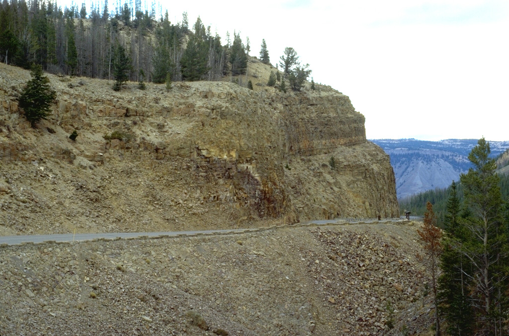 A roadcut at Golden Gate, north of Mammoth, cuts through the Huckleberry Ridge Tuff, the deposit produced by the gigantic eruption that created Yellowstone's first caldera about 2 million years ago.  The 2500 cu km Huckleberry Tuff,  one of the world's largest Quaternary eruptions, consists of welded tuffs and voluminous airfall deposits found as far away as southern California. The eruption created the 75-km-wide Island Park caldera, which extends from SE-Idaho into central Yellowstone. Photo by Lee Siebert, 1994 (Smithsonian Institution).