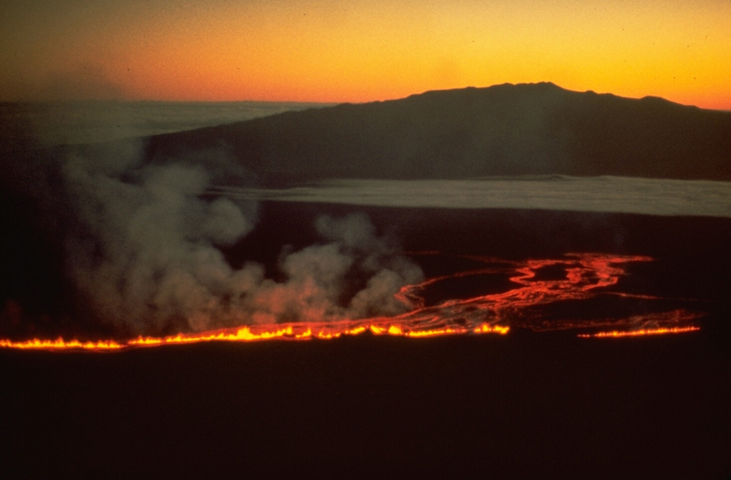This view from the south on 5 March 1984 shows lava fountains producing a lava flow down the NE flank of Mauna Loa, with Mauna Kea in the background. The eruption began at 0126 at the summit and upper SW rift zone, but the fissure soon extended across the summit caldera and down the NE rift zone. Several hours later a new fissure opened 7 km to the east. Copyrighted photo by Katia and Maurice Krafft.