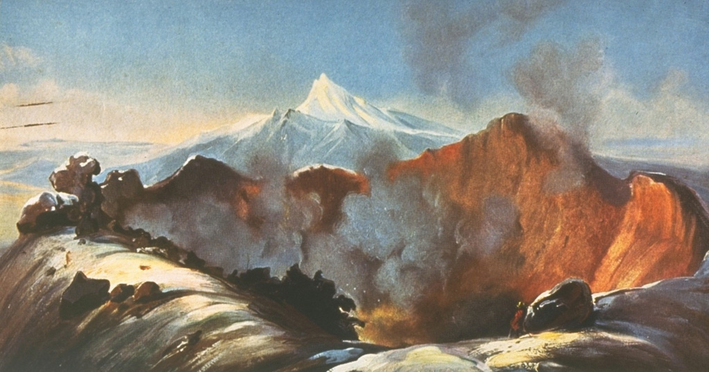 This painting by Rugendas published in 1856 depicts the steaming crater of Colima volcano as it appeared in 1834, during the first scientific expedition to the summit of the volcano.  The painting shows the broad, deep crater excavated at the summit by the major explosive eruption of February 15, 1818.  This eruption produced pyroclastic flows and abundant ash emission.  Ashfall was reported up to 440 km away in Querétaro, Mexico City, Zacateras, and San Luis Potosí.  The snow-capped peak of Nevado de Colima appears in the background. Painting by Juan Mauricio Rugendas (courtesy of Julian Flores, University of Guadalajara).