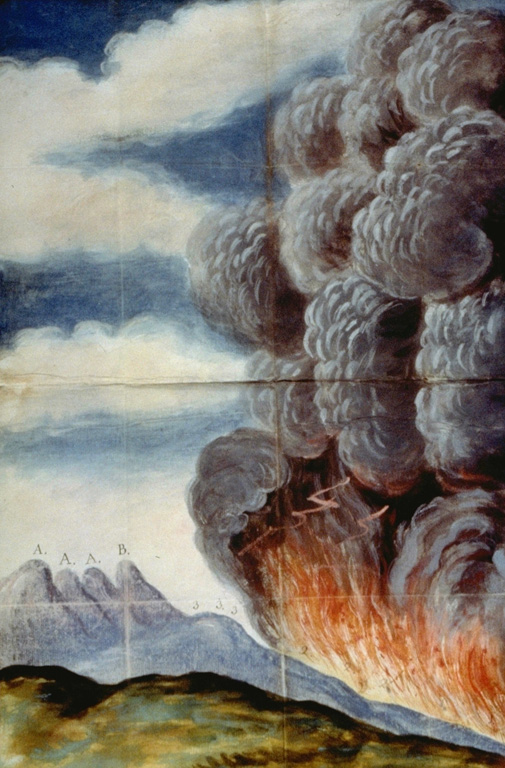 One of the largest historical eruptions of Pacaya volcano, illustrated in this contemporary painting, took place in 1775.  An explosive eruption began on July 1, 1775 when several vents opened on the SW flank of Cerro Chino.  A lava flow traveled to the south, eventually reaching 1000 m altitude.  The vents migrated towards the summit of Cerro Chino; one reference refers to activity at the summit 22 days into the eruption.  Ashfall from this eruption was reported up to 200 km away. Anonymous painting (courtesy of Archivo Real Academia de la Historia, Madrid).