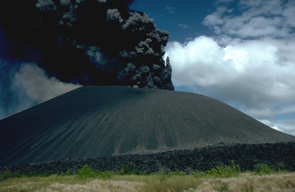 A dark, ash-rich eruption column rises above Cerro Negro volcano on December 1, 1995, near the end of an eruption that began on May 28 or 29.  Minor ash eruptions continued intermittently until August 16.  A small lava flow appeared in the main crater on July 24.  The most intense activity on June 2 was accompanied by a very small pyroclastic surge.  Explosive activity resumed from November 19 to December 6, and was accompanied by growth of a small lava dome in the summit crater and lava flows that traveled down the north flank. Photo by Britt Hill, 1995 (Southwest Research Institute).
