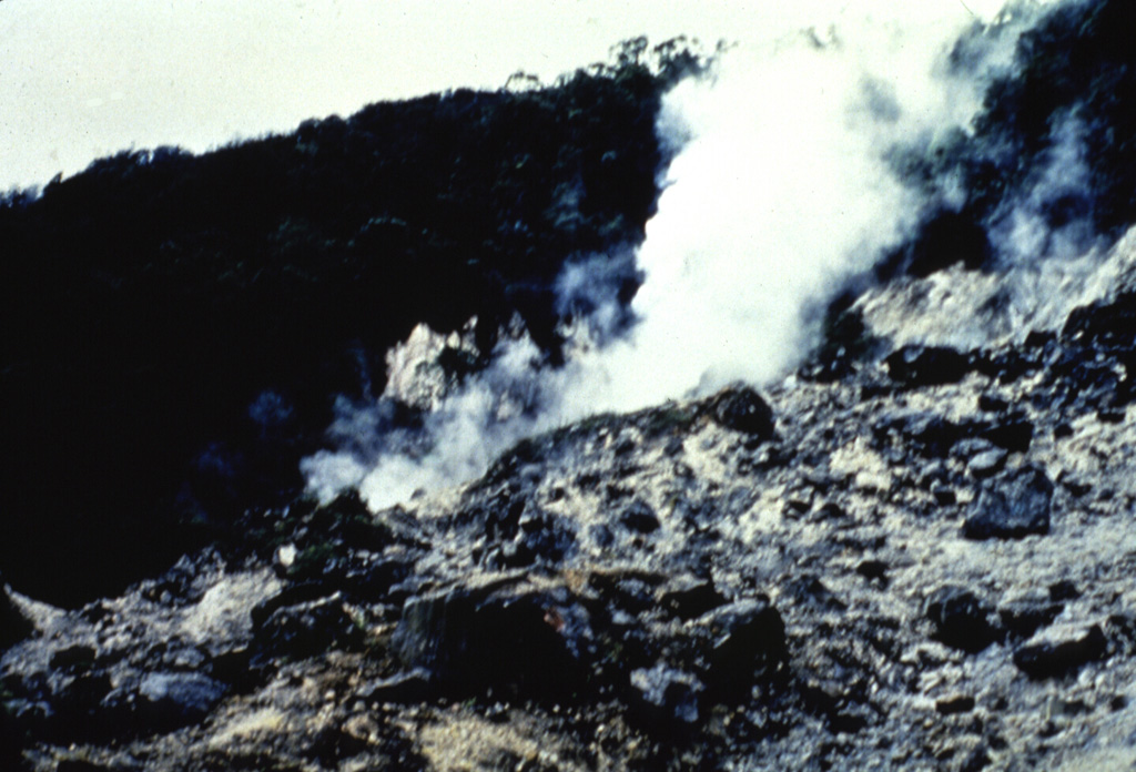 A plume rises from the Wayang fumarole in the summit crater of Gunung Wayang. Fumaroles occur in the summit crater and at Kawah Cibolang (also known as Kawah Bodas) on the SE flank. The crater of Gunung Windu, the other peak of the Wayang-Windu complex, lacks fumarolic activity. Anonymous, date unknown.