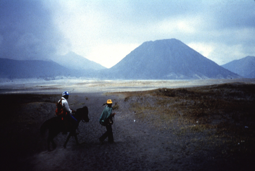 Batok (right), a prominent cone on the floor of Tengger caldera, is one of the youngest of the post-caldera cones. Charcoal from a scoria layer on the eastern flank of Batok was radiocarbon dated at about 360 years old. The only younger cone of Tengger caldera is the historically active Bromo, which is producing a cone to the left. Anonymous, 1987.