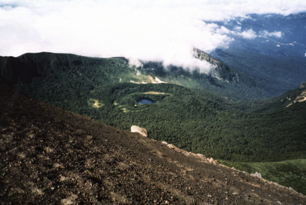 The NishiIwate caldera of Iwatesan volcano is seen here from the summit of Yakushidake, a cone constructed on the eastern rim of the caldera. Onoshiroko lake fills the Okama crater in the center of the caldera. Photo by Hidenori Togari, 1994 (Hokkaido University).
