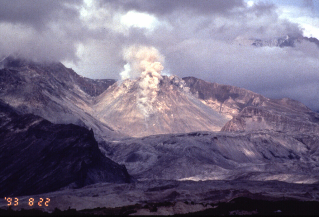 Small plumes rise above rockfalls accompanying renewed lava-dome growth at Sheveluch volcano on 22 August 1993. Intermittent mild explosions with a maximum cloud height of 5 km began on 11 April 1992. A large explosive eruption on 22 April produced an 18-km-high ash plume and pyroclastic flows. Renewed dome growth began that month, and by 27 May the lava dome had doubled its pre-eruption height to 400 m. Dome growth along with intermittent mild explosive activity continued until at least July 1994. Photo by Phil Kyle, New Mexico Institute of Mining and Technology, 1993 (courtesy of Vera Ponomareva, IUGG, Petropavlovsk).
