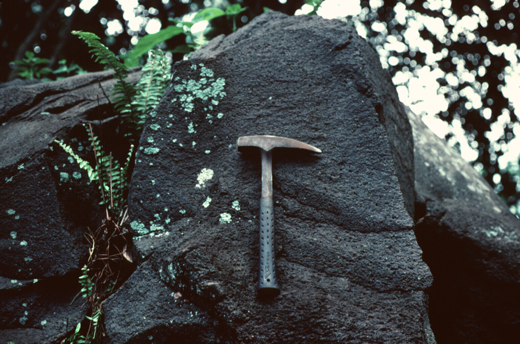 The flat, grooved surface of this lava block was sandblasted by high-velocity pyroclastic surges during an eruption in 1775.  The pyroclastic surges accompanied formation of the 700-m-wide Tolire Jaha maar on the NW flank of Gamalama.   Photo by Jack Lockwood, 1980 (U.S. Geological Survey).