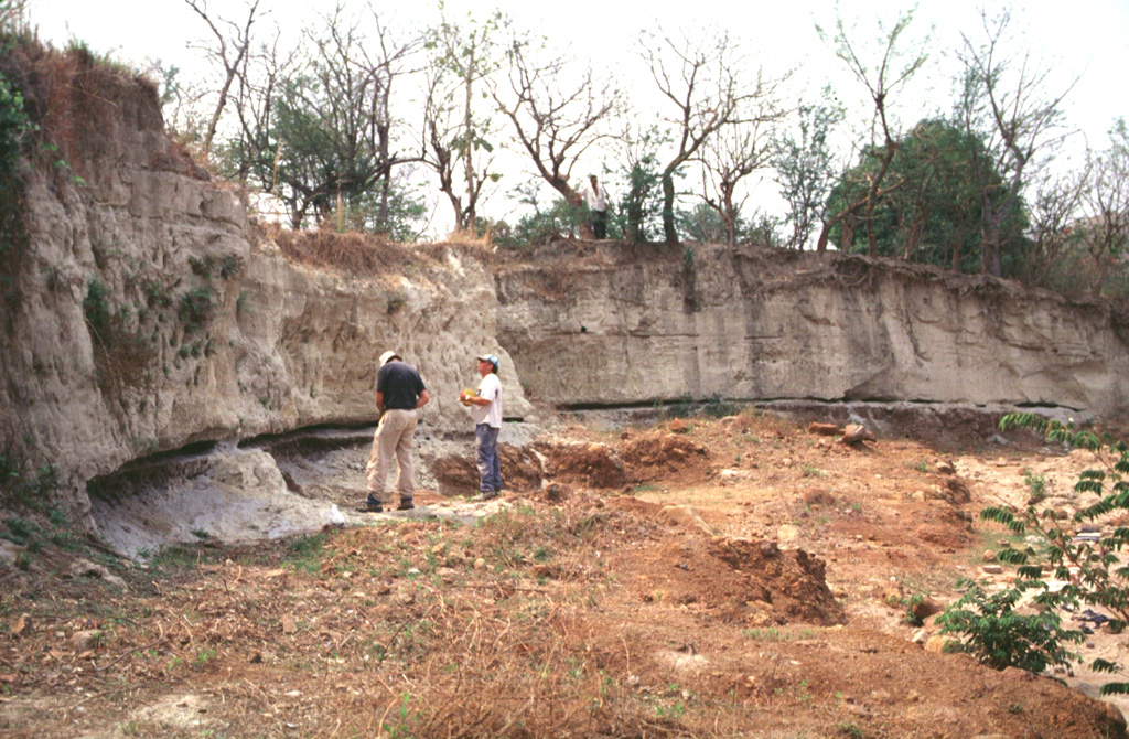 Geologists investigate an outcrop of the Tierra Blanca Joven (TBJ) formation about 10 km SE of Ilopango caldera.  The TBJ was produced during the last of four major explosive eruptions that formed the caldera.  Dacitic pyroclastic flows and ash and pumice fall blanketed much of central and western El Salvador.  The eruption destroyed early Mayan cities and forced their abandonment for decades to centuries.  Trade routes were disrupted, and the centers of Mayan civilization shifted from the highland areas of El Salvador to lowland areas to the north and in Guatemala. Photo by Carlos Pullinger, 1996 (Servicio Nacional de Estudios Territoriales, El Salvador).