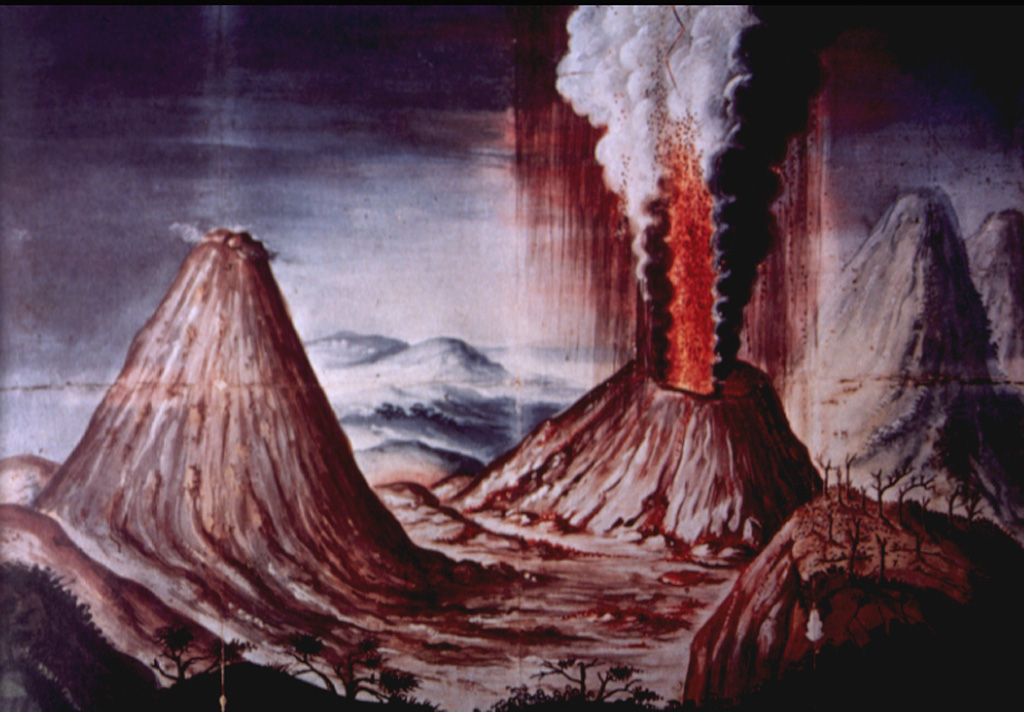 This dramatic contemporary painting of the 1775 eruption of Pacaya volcano shows a lava fountain and eruption plume rising above Cerro Chino.  The perspective of the painting is from Meseta on the NE rim of Pacaya's large summit caldera.  At the left is the conical peak now known as MacKenney cone, and at the far right is Agua volcano.  An explosive eruption, one of the largest in historical time from Pacaya, began on July 1, 1775 and produced extensive ashfall and a lava flow that eventually reached 1000 m altitude on the south flank.   Anonymous painting (courtesy of Ministerio de Educación, Cultura y Deporte, Archivo General de Indias, Seville).
