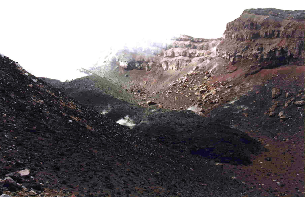 The dark lava flow lobe extending diagonally across the 1963 crater floor from the upper left is the December 1998 Lopevi intracrater lava flow (seen from the SE) after eruptive activity had resumed. The flow, ~100 m long and 10 m wide, originated from the small cone seen steaming at the upper left.  Photo by Michel Lardy, 1998 (Institut de Recherche pour la Développment, Vanuatu).