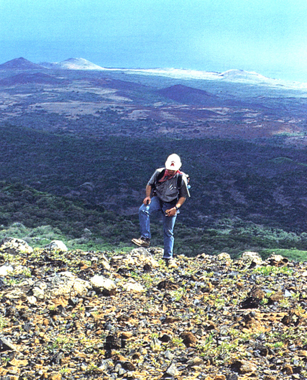 The Lomas Coloradas pyroclastic cones along the SW coast of Socorro appear in the background behind a geologist near the summit of Cerro Evermann.  A brief phreatic eruption apparently occurred from a cinder cone west of the Lomas Coloradas on May 22, 1951, witnessed from a yacht anchored offshore at Caleta Binner.  During a 5-10 minute period, a plume sequentially red, black, and then white rose a short distance above the cone, and bombs or blocks fell around the cone.  The plume eventually reached a height of about 1200 m.     Photo by Hugo Delgado-Granados, (Universidad Nacional Autónoma de México).