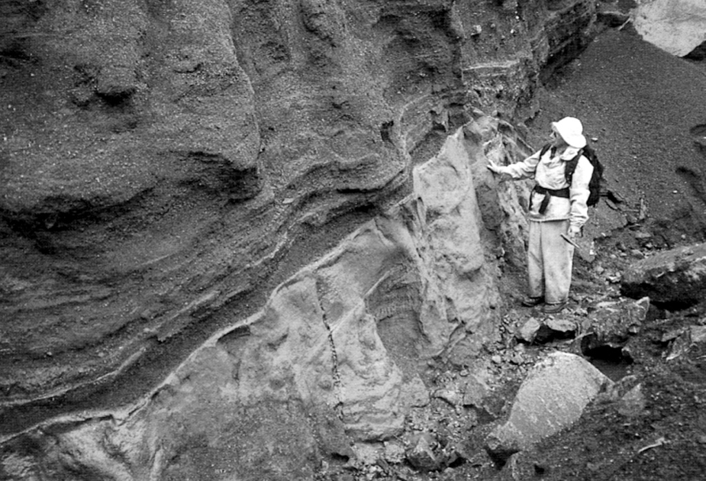 A geologist observes the contact between a basaltic Plinian fallout lapilli unit overlying marine clay. This deposit is part of thick beds of basaltic Holocene tephra originating from an unknown Quaternary volcanic center found near Crow Lagoon, north of Prince Rupert near the southern tip of the Alaskan panhandle. Ballistically emplaced bombs imply a nearby source. The tephra beds are located along the south side of the Khutzeymateen Inlet, about 40 km N of Prince Rupert. Photo by Jack Souther (Geological Survey of Canada, courtesy of Cathie Hickson).