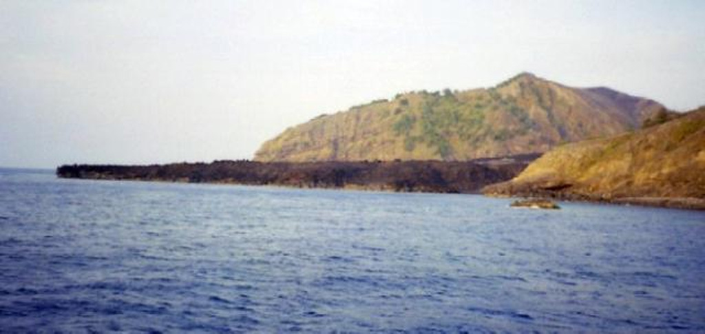 The lava delta extending across the photo formed during the 1994-1995 eruption of Barren Island. The eruption was first noticed by the Indian Navy on 20 December 1994. Explosive activity was observed from satellite images and during visits from January to March and May 1995. Four vents were active from the summit to the S flank of the cone along a N-S south line. A new vent was observed on 11 May on the W flank of the cone that produced a lava flow. Photo courtesy of D. Chandrasekharam and others, 2003 (Indian Institute of Technology).