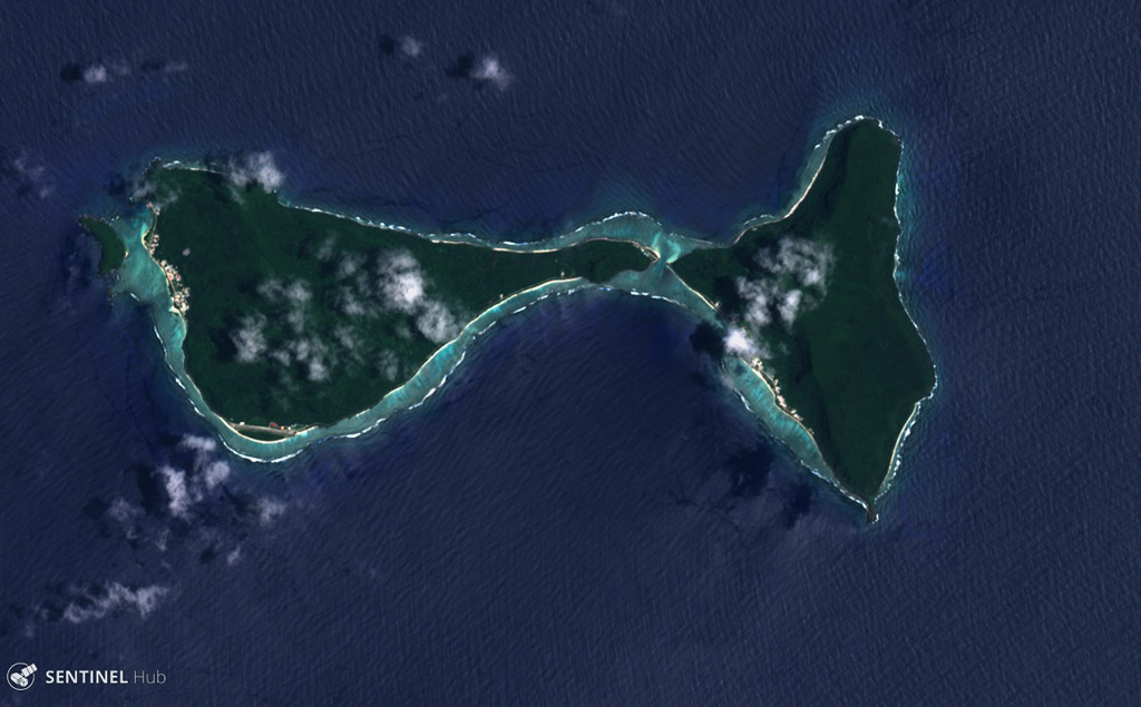 Ofu (left) and Olosega (right) in eastern Samoa are parts of the same volcano separated by the Asaga Strait, with the island group reaching nearly 9 km across (including the smaller island to the west), shown in this 29 October 2018 Sentinel-2 satellite image (N is at the top). The islands have likely been shaped by flank failures with resulting debris avalanches below sea level. Satellite image courtesy of Sentinel Hub Playground, 2018.