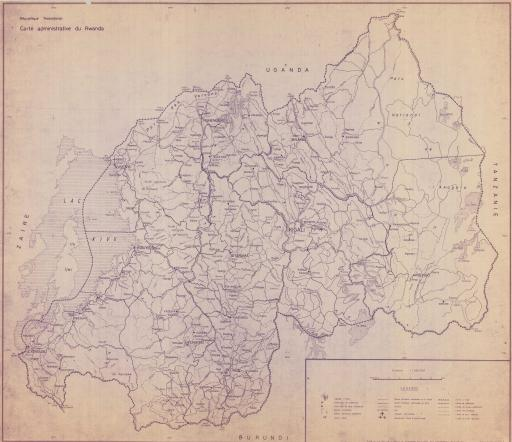 Map of Rwanda, Carte (Map) Administrative