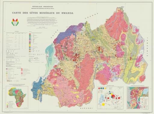 Map of Rwanda, Carte des Gites Mineraux