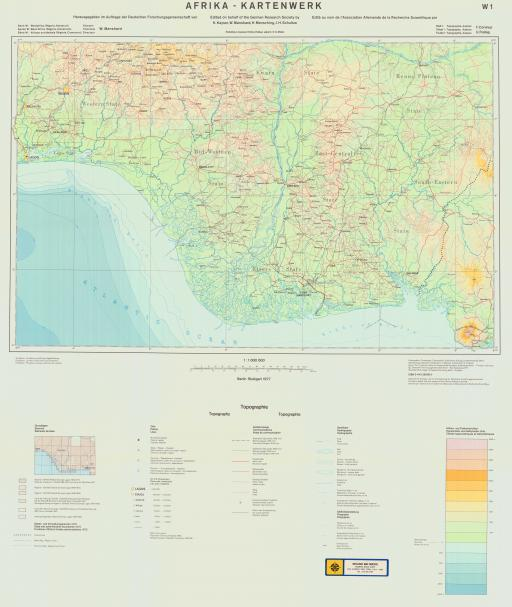 Map of Topo Map W Africa (Nigeria, Cameroon)