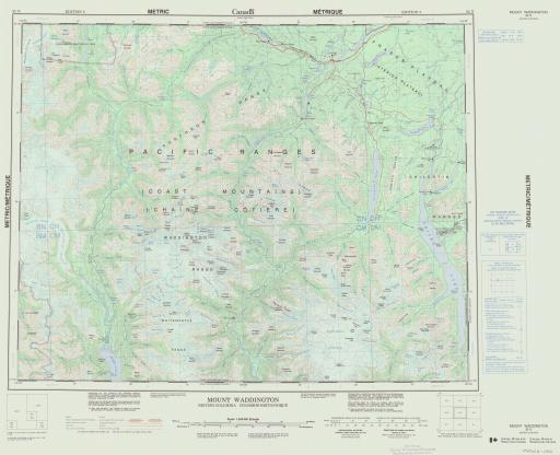 Map of Mount Waddington, British Colummbia