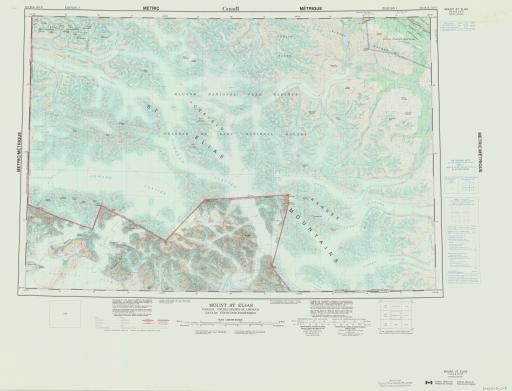 Map of Mount St Elias, Canada and US