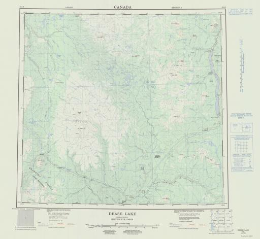 Map of Dease Lake, Cassiar District, British Columbia