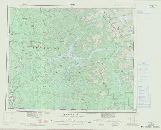 Map of Quesnel Lake, British Columbia