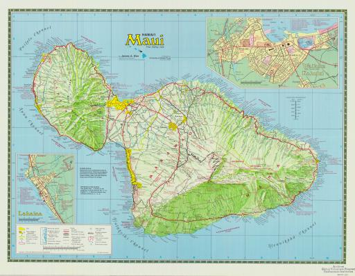 Map of Maui, the Valley Isle, Full Color Topo Map of