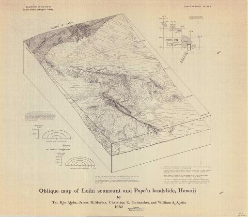 Map of Oblique Map of Loihi Seamount, Papa'u Landslide