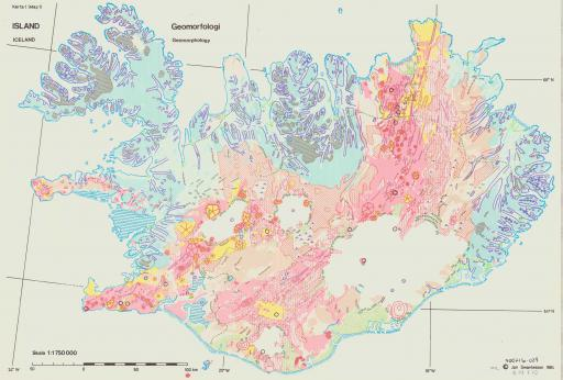 Map of Geomorphology of Iceland