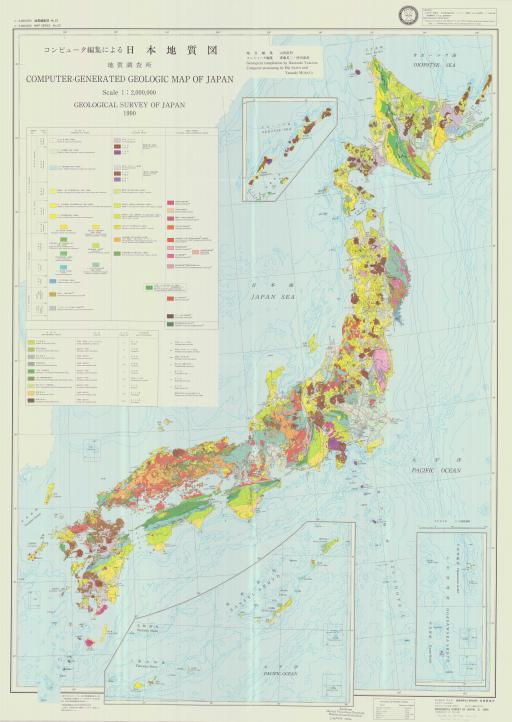Map of Computer Generated Geologic Map of Japan
