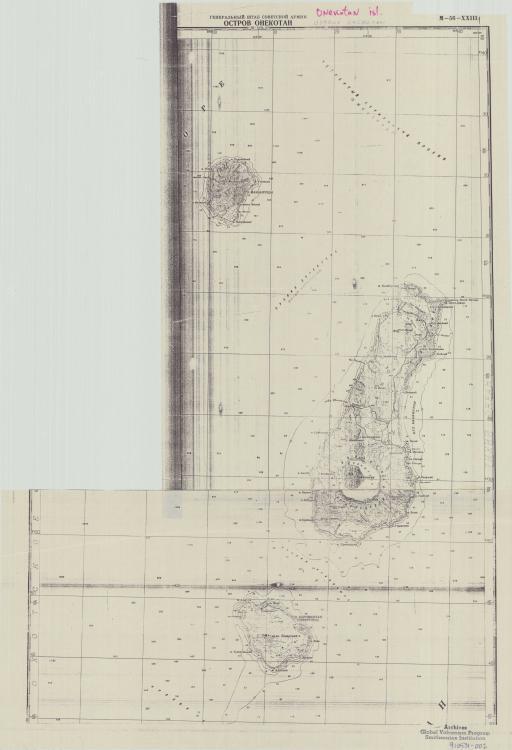 Map of Onekotan, Makanrushi, & Karimkotan Ostrova
