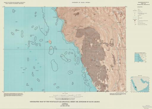 Map of Geogr Map of the Wadi Haliy Quad, Sheet 18E, Saudi Arabia