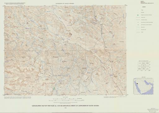 Map of Geogr Map of the Wadi Al 'Ays Quad, Sheet 25C, Saudi Arabia