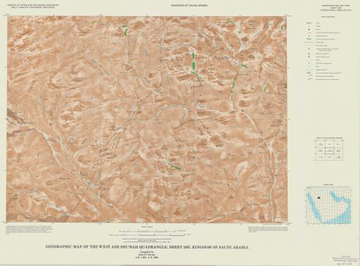 Map of Geogr Map of the Wadi Ash Shu'bah Quad, Sheet 26E, Saudi Arabia