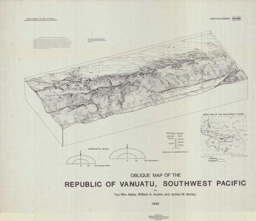 Map of Vanuatu, SW Pacific, Oblique Map of Republic of
