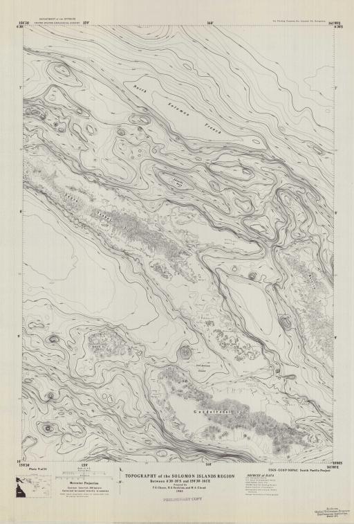 Map of Sol-I Region, Topo Bet 6 30-10 S, 158 30-161 E