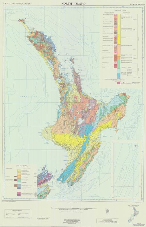 Map of N Island, Geol Map of NZ