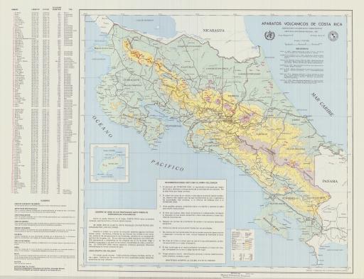 Map of Aparatos Volcanico de Costa Rica