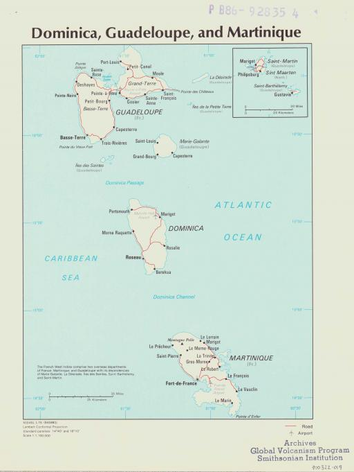 Map of Dominica, Guadeloupe, Martinique