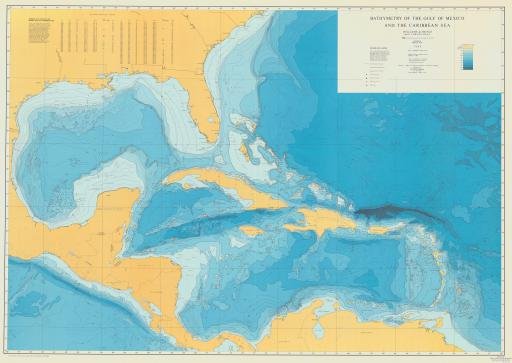 Map of Bath of Gulf of Mexico & Caribbean Sea