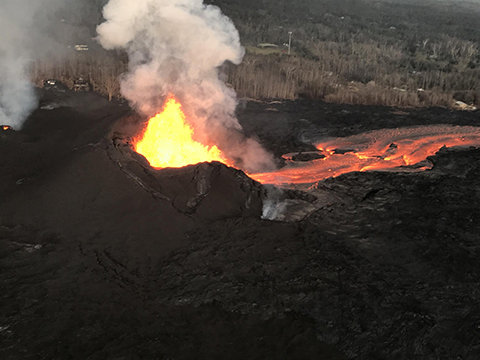 Lava flow from the Fissure 8 at Kilauea on 9 June 2018.