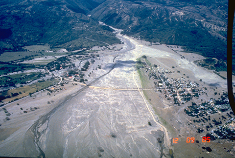 Aerial view of Armero destroyed by lahars from Nevado del Ruiz volcano, Colombia, on 13 November 1985.
